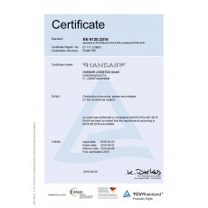 Hansair Logistics, GmbH has successfully completed the audit for AS9120 Rev. B Certification